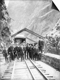 Hanging Bridge - President Theodore Roosevelt and Party in the Royal Gorge of the Arkansas River …