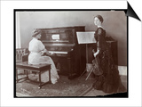 Women Playing a Player Piano and a Violin  New York  1907