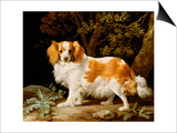 A Liver and White King Charles Spaniel in a Wooded Landscape  1776