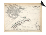 Map of the Battle of Copenhagen  Published by William Blackwood and Sons  Edinburgh and London