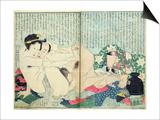 A 'Shunga' (Erotic Print)  from 'Manpoku Wago-Jin': Lovers and a Wine Jar  1821