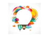 Hot Air Balloon, Colorful Abstract Vector Background Reproduction d'art par Marish