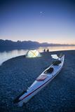 Sunset  Couple Beach Camping with Kayak