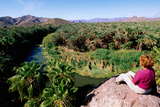 Woman Looking over Rio Mulege from Viewpoint  Mulege  Baja California Sur  Mexico  Central America