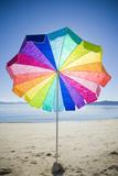 Colorful Umbrella  Sunny Day and Empty Beach