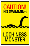 Caution Loch Ness Monster Sign Art Poster Print
