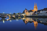 Historic Regensburg Illuminated at Dusk