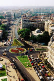 Overhead of University Square and IC Bratianu Blvd  Bucharest  Romania  Europe