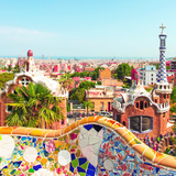 Ceramic Mosaic Park Guell in Barcelona  Spain Park Guell is the Famous Architectural Town Art Desi