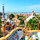 Barcelona  SPAIN - JULY 19: Ceramic Mosaic Park Guell on July 19  2013 in Barcelona  Spain Park Gu
