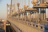 Usa  Pennsylvania  Philadelphia  Close-Up View at Benjamin Franklin Bridge at Sunset