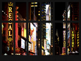 Window View - View of Times Square by Night with top of the Chrysler Building - Manhattan - NYC