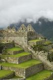 Machu Picchu Cloaked in Mist and Huayna Picchu Mountains  Peru  February 2011
