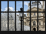 Window View - Louvre Museum Building and Glass Pyramids - Paris - France - Europe