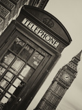 Red Phone Booth in London with the Big Ben - City of London - UK - England - United Kingdom