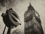 Westminster Underground Sign - Subway Station Sign - Big Ben - City of London - UK - England