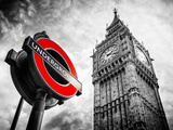 Westminster Underground Sign - Subway Station Sign - Big Ben - City of London - UK - England Papier Photo par Philippe Hugonnard