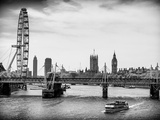 The Millennium Wheel and Houses of Parliament - Views of Hungerford Bridge and Big Ben - London