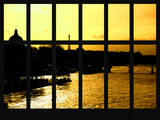 Window View - Color Sunset in Paris with the Eiffel Tower and the Seine River - France - Europe