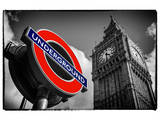 Big Ben and Westminster Station Underground - Subway Station Sign - City of London - UK - England