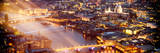 View of City of London with St Paul's Cathedral and River Thames at Night - London - UK - England
