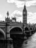 View of Big Ben from across the Westminster Bridge - Thames River - City of London - UK - England