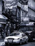 Urban Street Scene with NYC Sheriff Car in Fulton Street - Financial District - Manhattan