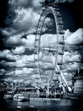 Landscape of London Eye - Millennium Wheel and River Thames - London - England - United Kingdom