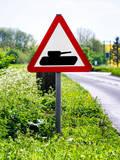 Road Sign - Milatary Vehicles (Tank) - UK - England - United Kingdom - Europe