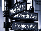 NYC Street Signs in Manhattan by Night - 34th Street  Seventh Avenue and Fashion Avenue Signs