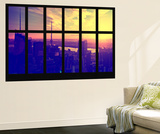 Wall Mural - Window View - Manhattan at Sunset - Times Square Buildings - New York City