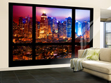 Wall Mural - Window View - Manhattan by Foggy Night - Times Square and Theater District - New York