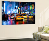 Wall Mural - Manhattan at Night with Yellow Taxis - New York City - USA