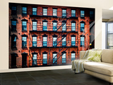 Wall Mural - New York Facade of Building with Fire Escapes - USA