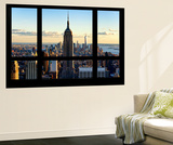 Wall Mural - Window View - Manhattan with the Empire State Building and 1 WTC - New York