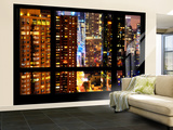 Wall Mural - Window View - Skyscrapers by Night - Times Square - Manhattan - New York City