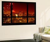 Wall Mural - Window View - Manhattan at Red Night with the New Yorker Hotel Sign - New York