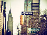 View of The Chrysler Building and Avenue of the Americas Sign - Manhattan - New York