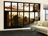 Wall Mural - Window View - Manhattan at Sunset with One World Trade Center - New York