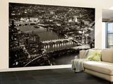 Wall Mural - View of City of London with St Paul's Cathedral and River Thames at Night - London