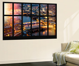 Wall Mural - Window View - City of London with St Paul's Cathedral and River Thames at Night - UK