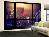 Wall Mural - Window View - Manhattan by Foggy Night - The New Yorker Hotel Sign - New York
