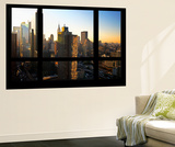 Wall Mural - Window View - Theater District Buildings of Manhattan at Sunset - New York