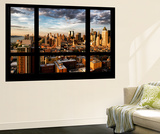 Wall Mural - Window View - Landscape of Manhattan at Sunset - Theater District - New York