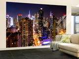 Wall Mural - Manhattan Cityscape at Night - Times Square - New York City - USA
