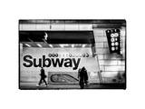 Entrance of a Subway Station in Times Square - Urban Street Scene by Night - Manhattan