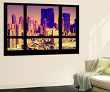 Wall Mural - Window View - City of NYC - Buildings of Manhattan at Sunset - New York