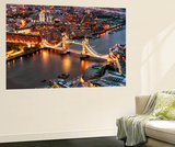 Wall Mural - View of City of London with the Tower Bridge at Night - London - UK