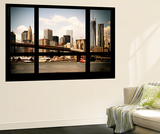Wall Mural - Window View - Manhattan View with Brooklyn Bridge and 1WTC - New York