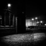 Night Urban Scene with Cobbled Street